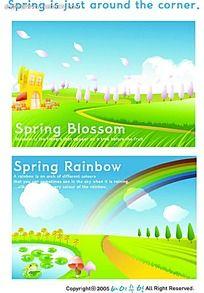 乡村春季美景手绘背景画