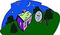乡村夜景手绘背景画