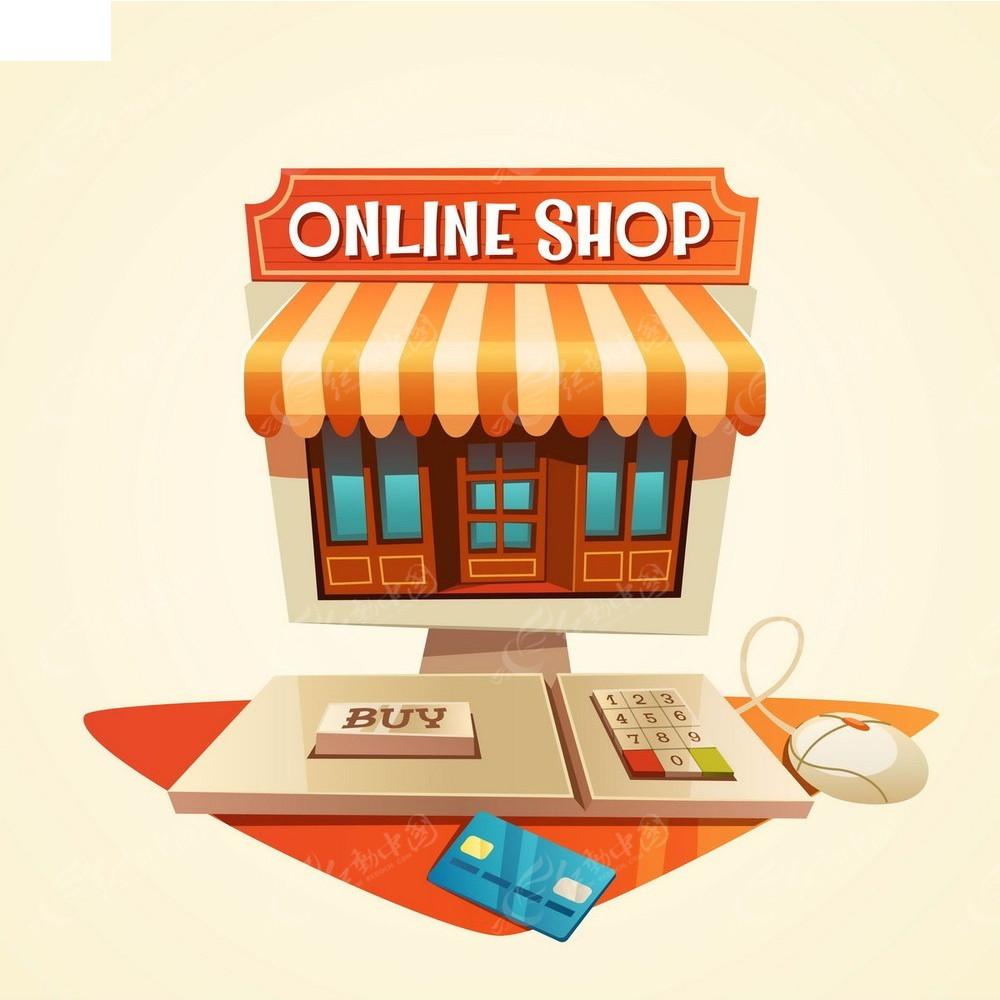 线上商店手绘立体图形