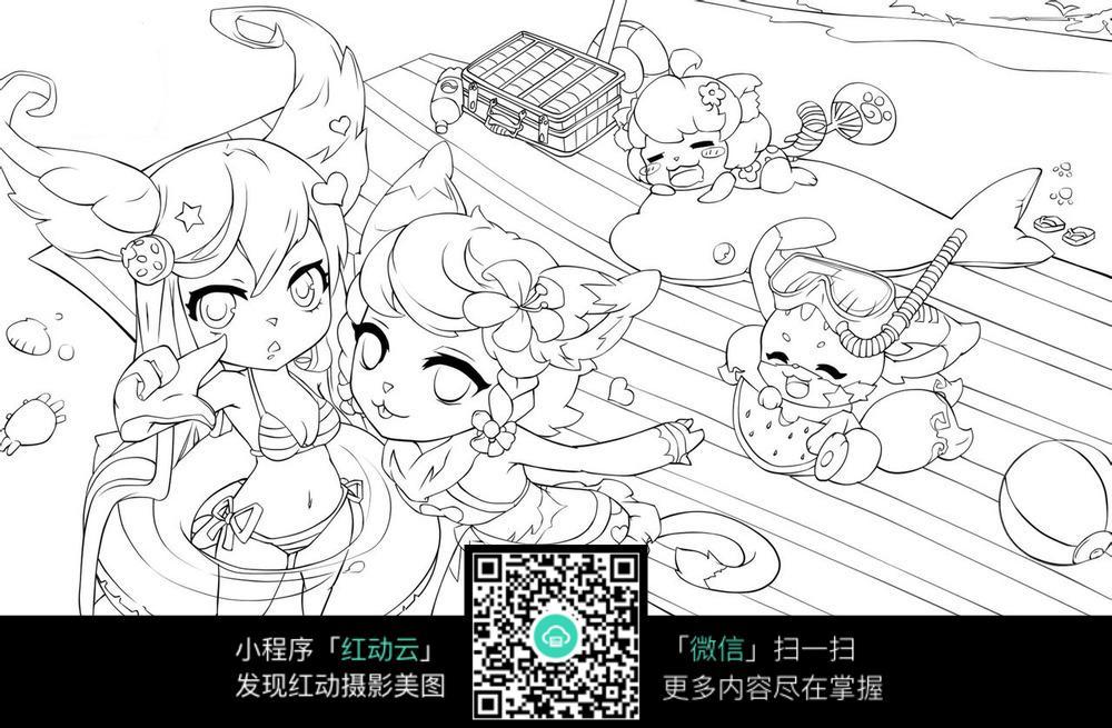小动物 女孩 卡通 手绘线稿 卡通人物 漫画  卡通素材  插画 人物素材