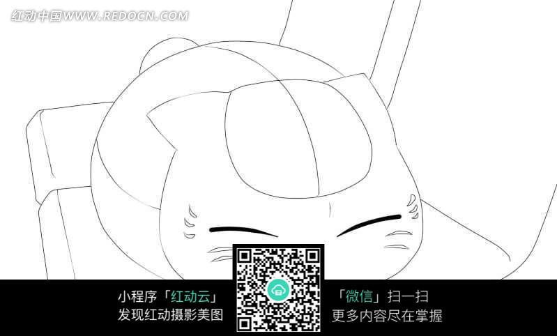小猫卡通手绘线稿_人物卡通图片_红动手机版