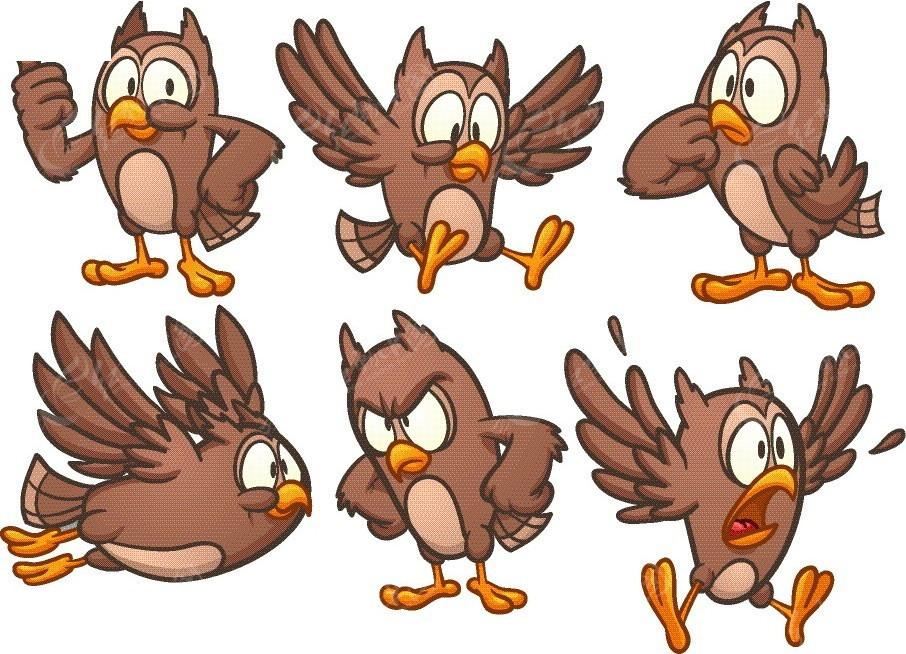 小鸟手绘线描画图片