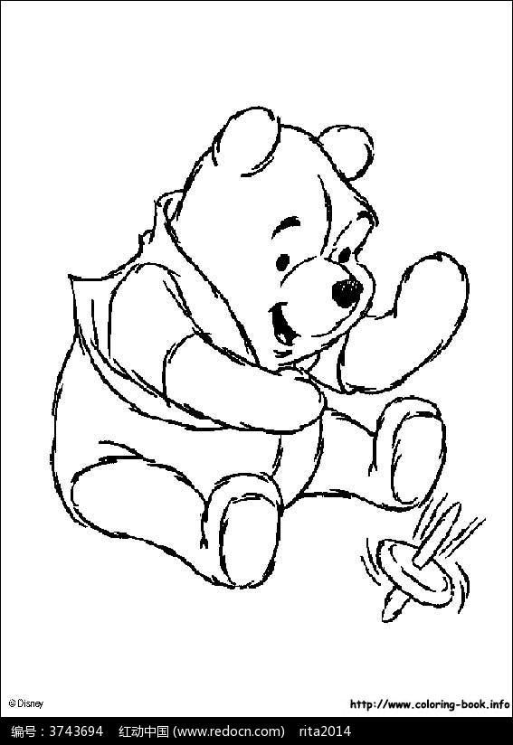 小熊维尼线稿图片_人物卡通图片