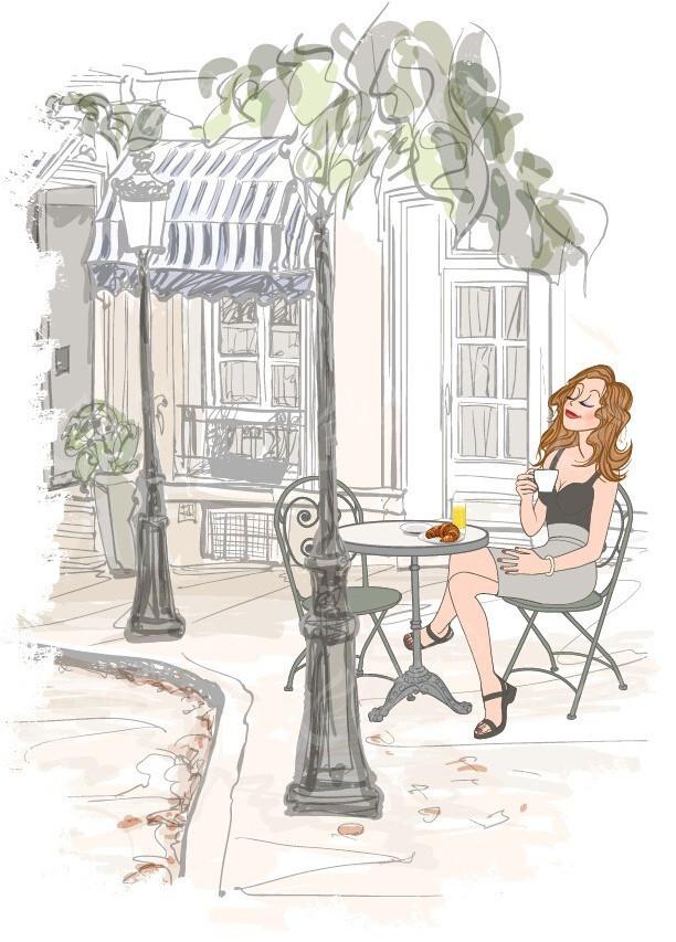 休闲美女街景手绘线描画
