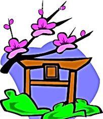樱花亭子手绘背景画