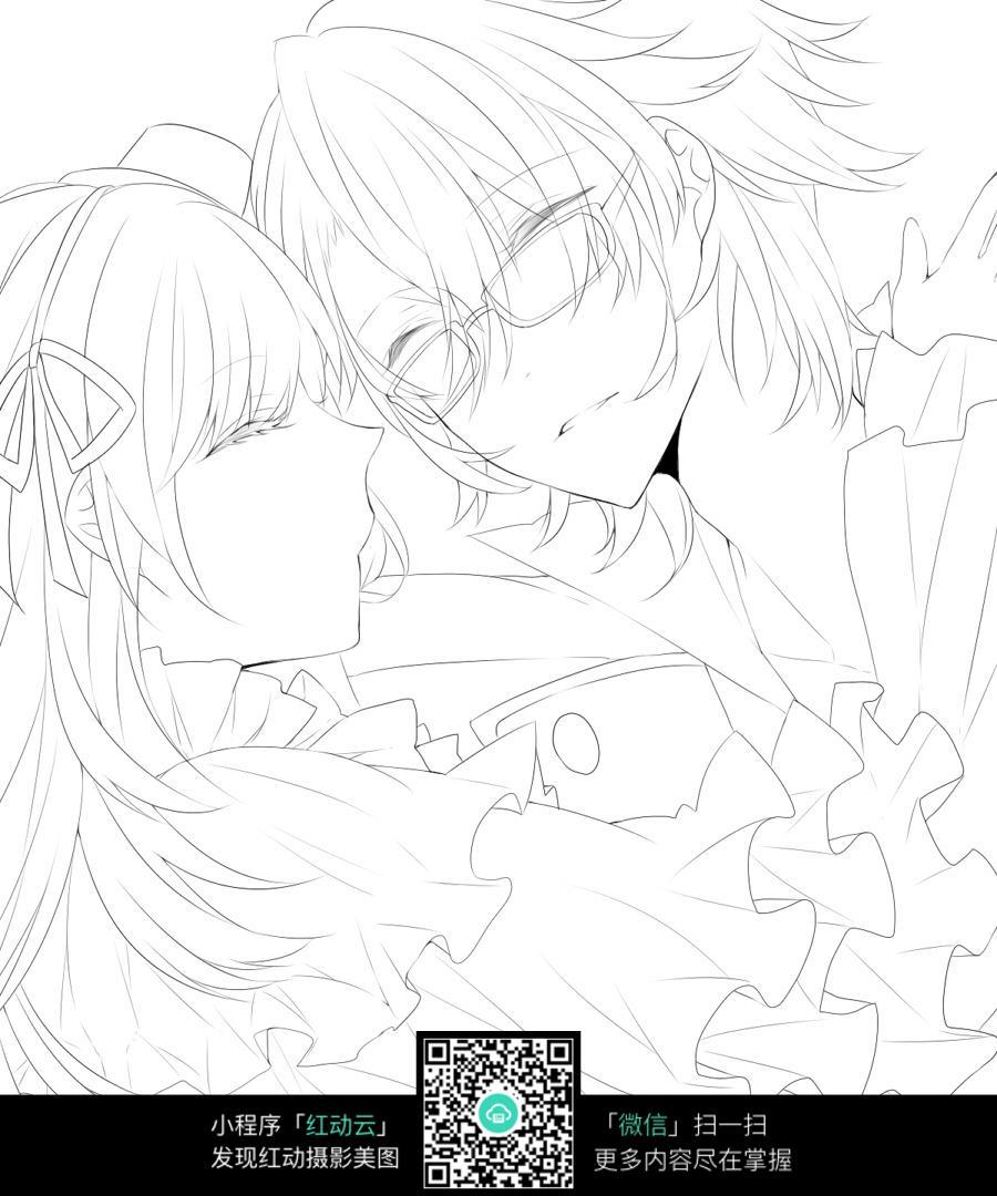 拥抱的情侣卡通手绘线稿