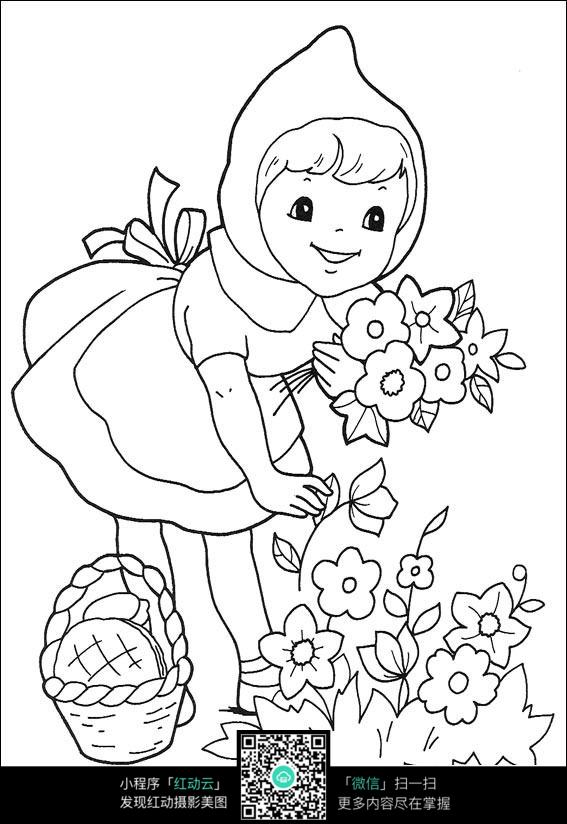 摘花的女孩手绘