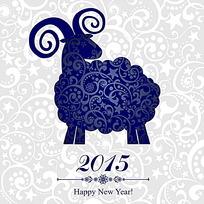 中式花纹小羊背景2015年新年卡
