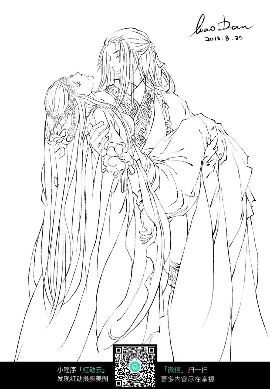 抱着美女的男子卡通手绘线稿图片图片