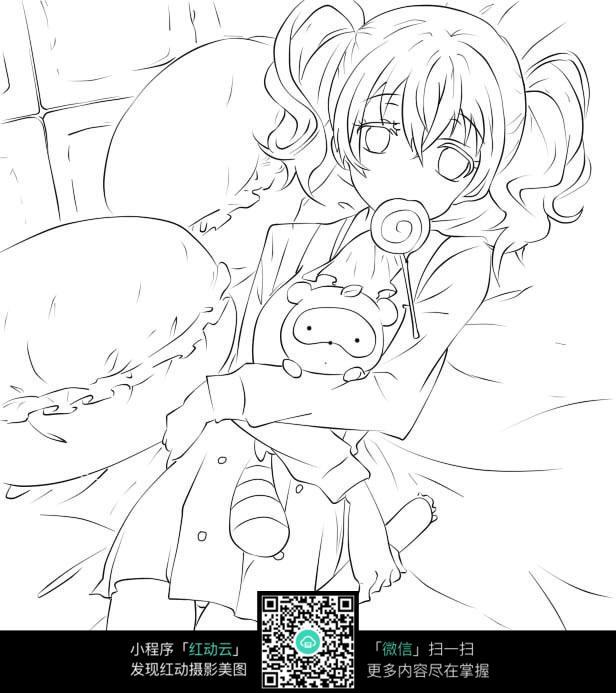 卡通女孩 抱着娃娃 动漫人物插画 枕头 素描人物插画 卡通人物 漫画