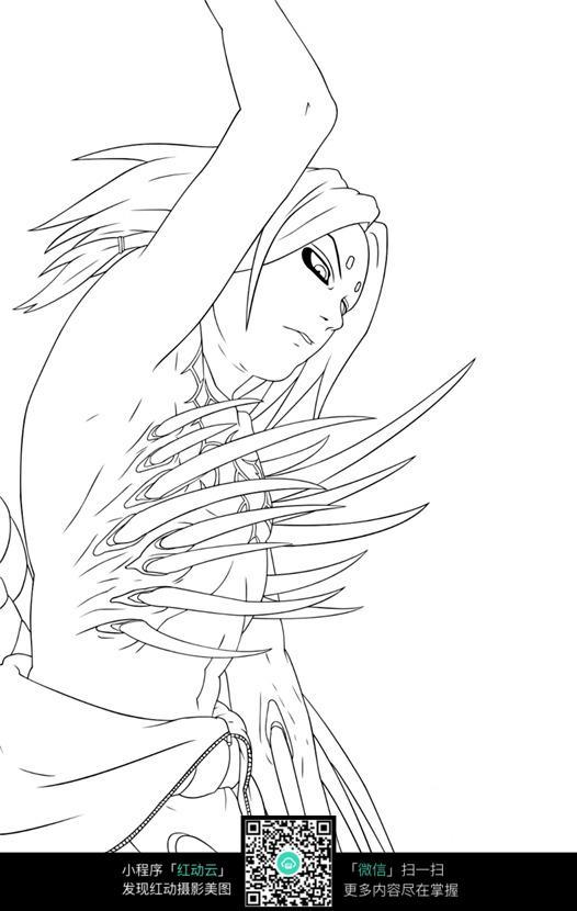 长发女孩卡通手绘线稿