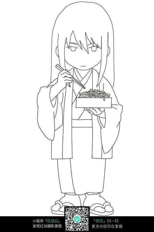 吃饭的女孩卡通手绘线稿
