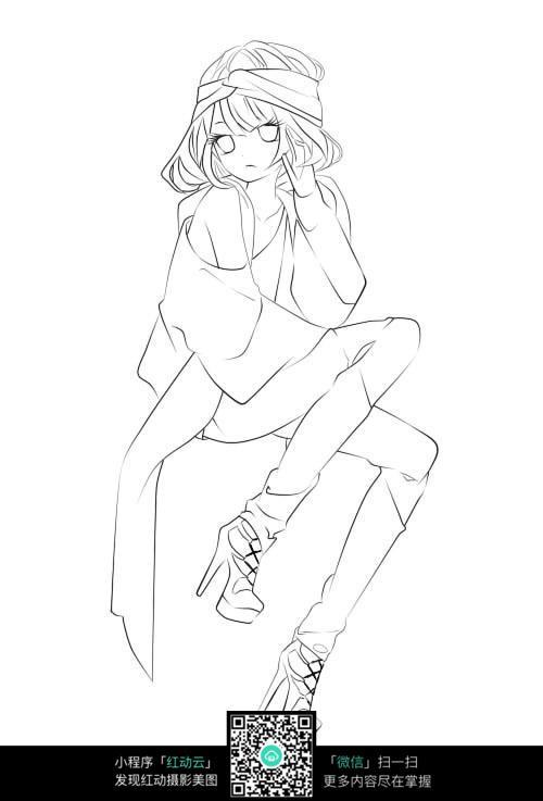 穿高跟鞋的卡通女孩素描插画