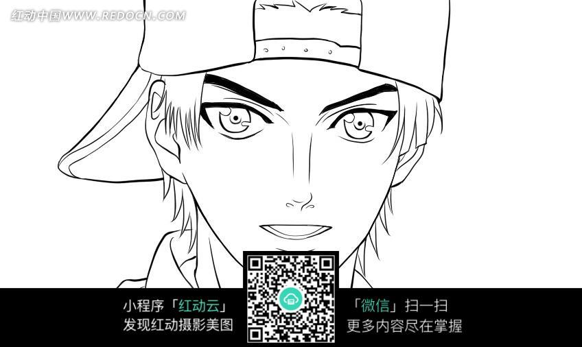 戴帽子的男孩卡通手绘线稿