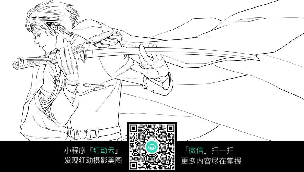 刀和男孩卡通手绘线稿