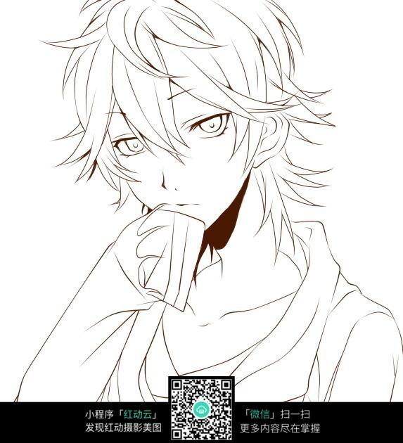 短发男孩卡通手绘线稿_人物卡通图片