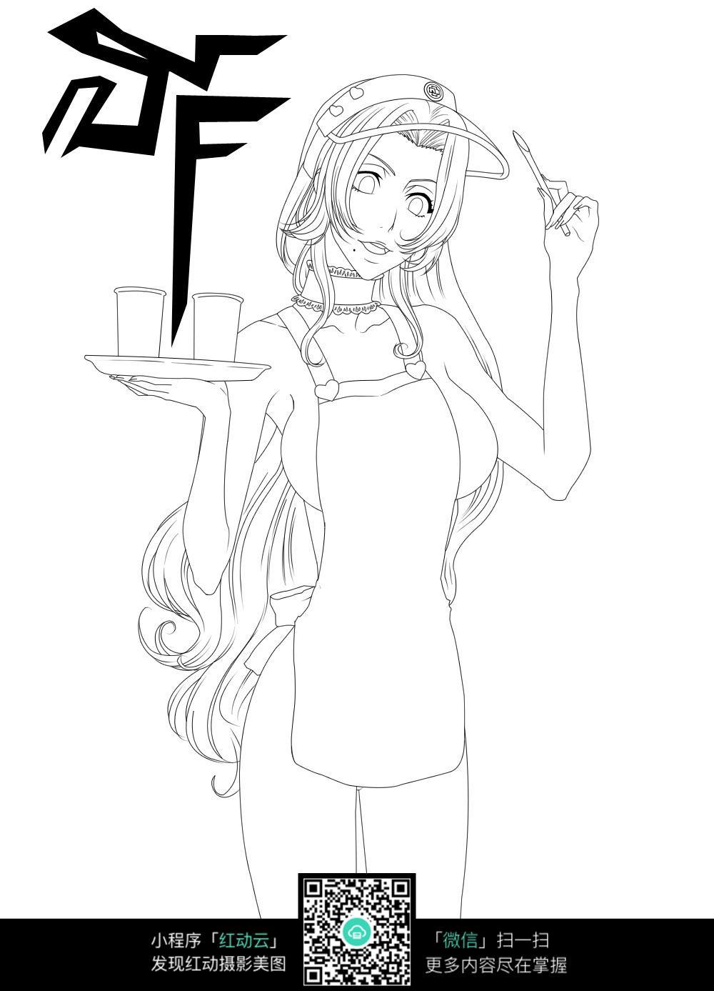端着茶盘的卡通女服务员线条插画