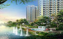 高档住宅小区水岸景观带