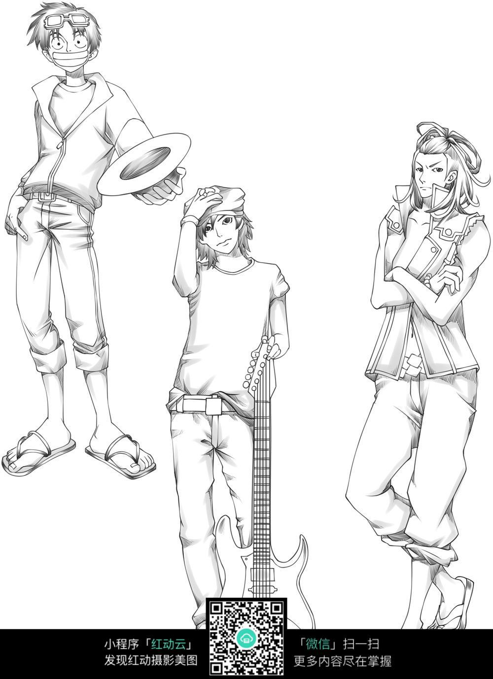 个性男孩卡通手绘线稿