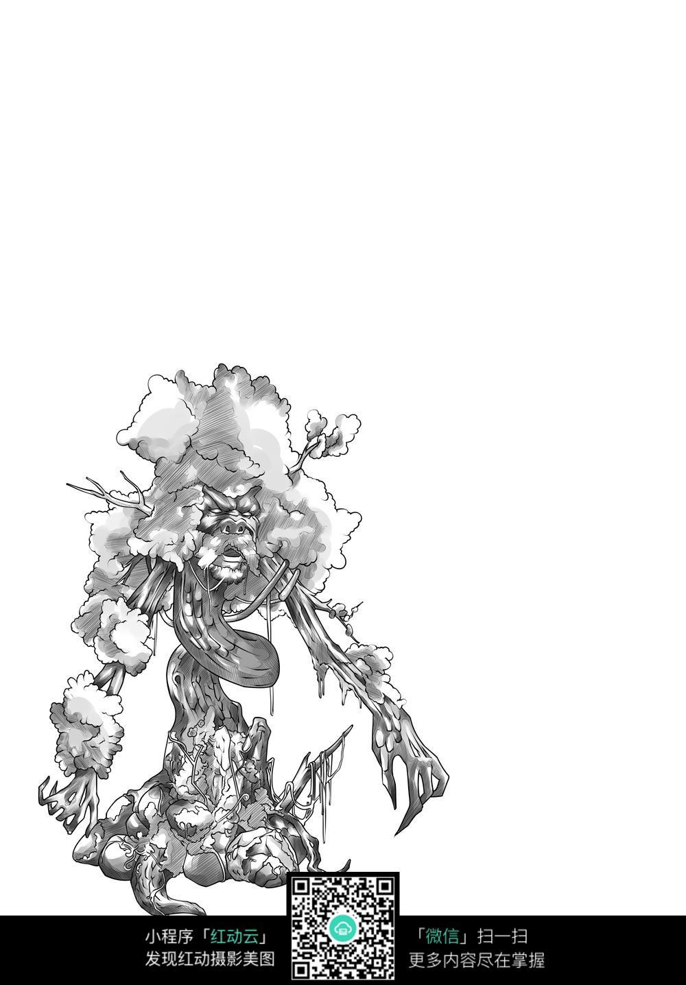怪物卡通手绘线稿_人物卡通图片
