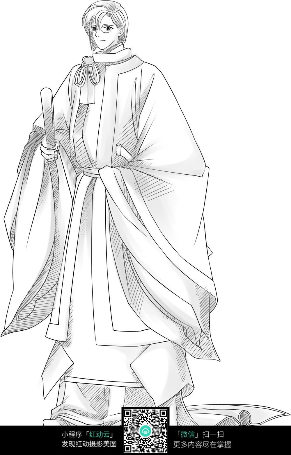 古装男子卡通手绘线稿图片免费下载(编号3689982)_红