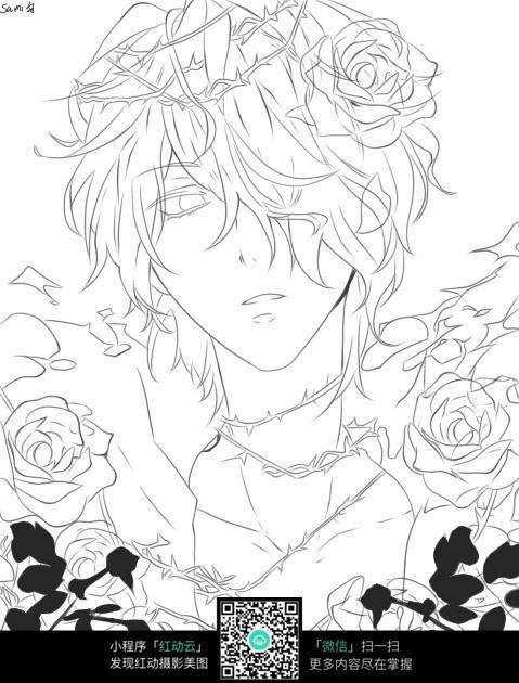 花朵和男孩卡通手绘线稿
