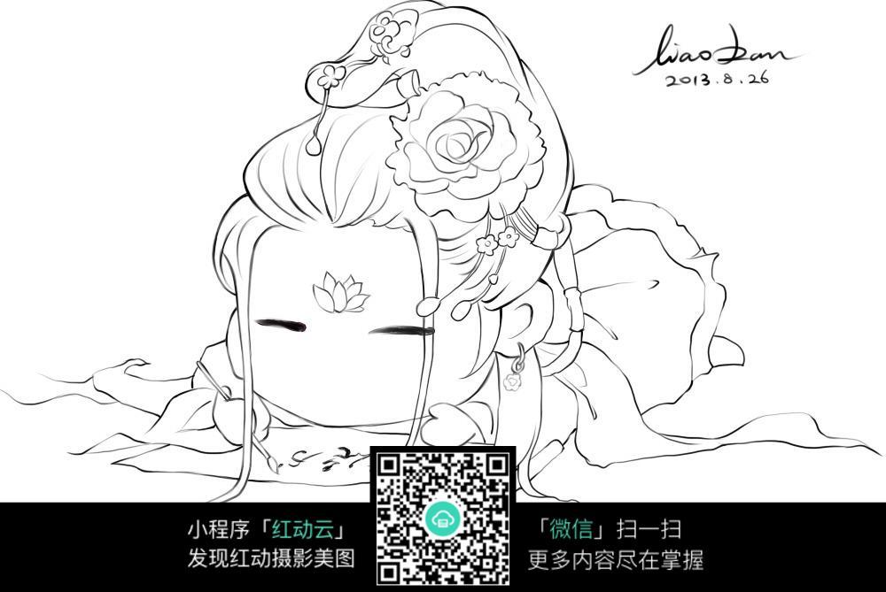 花朵 女孩 卡通 手绘线稿 卡通人物 漫画  卡通素材  插画 人物素材