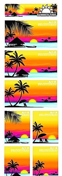 黄昏海滩海景手绘背景画