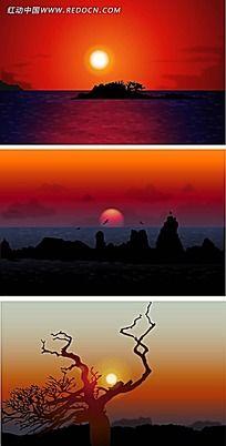 黄昏湖光夜景手绘背景画