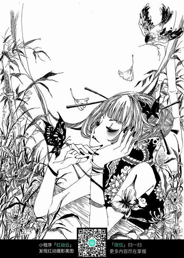 蝴蝶和女孩卡通手绘线稿_人物卡通图片_红动手机版