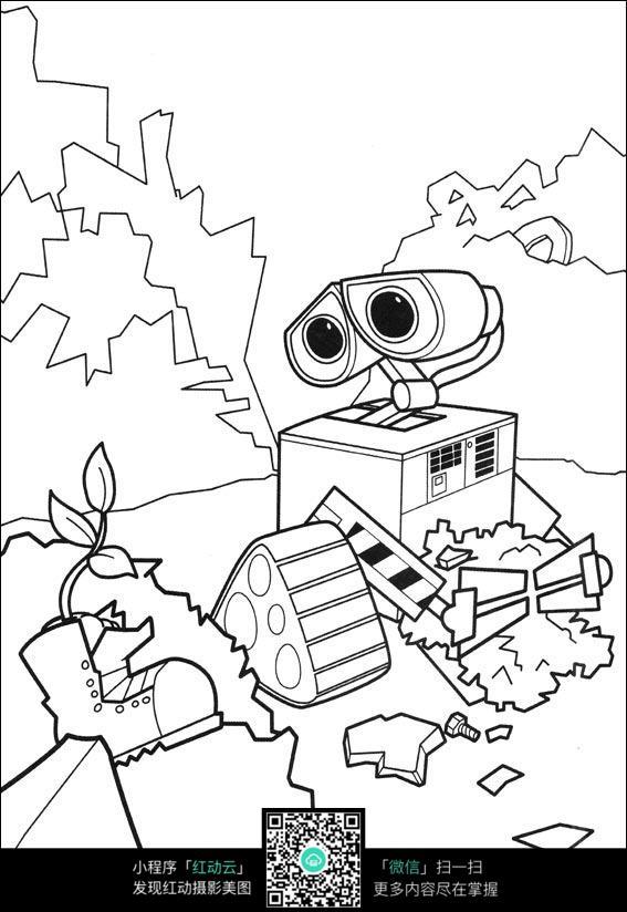 机器人黑白简笔画图片免费下载 编号3743174 红动网
