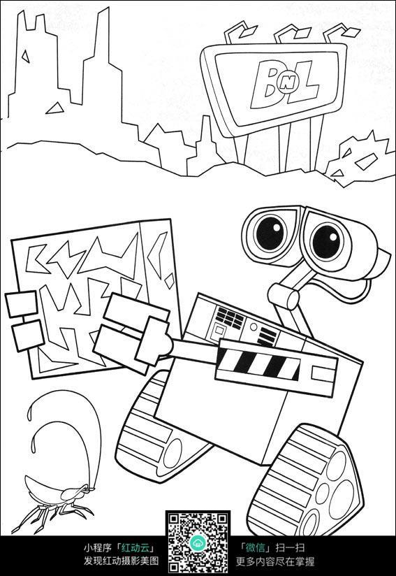 机器人瓦力黑白简笔画图片免费下载 编号3743176 红动网