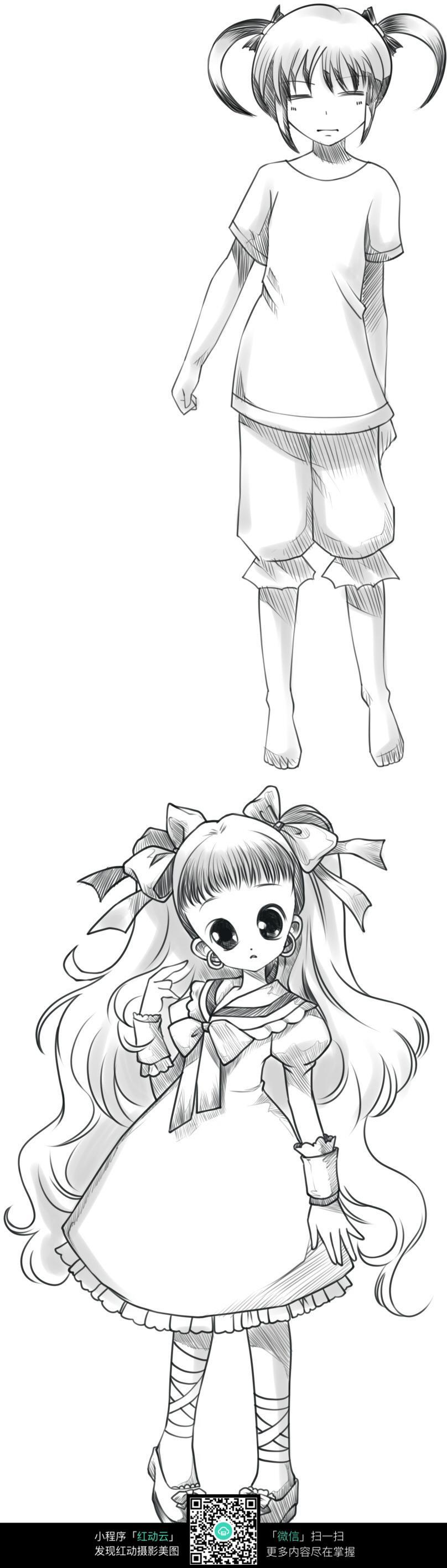 可爱 女孩 卡通 手绘线稿 卡通人物 漫画  卡通素材  插画 人物素材
