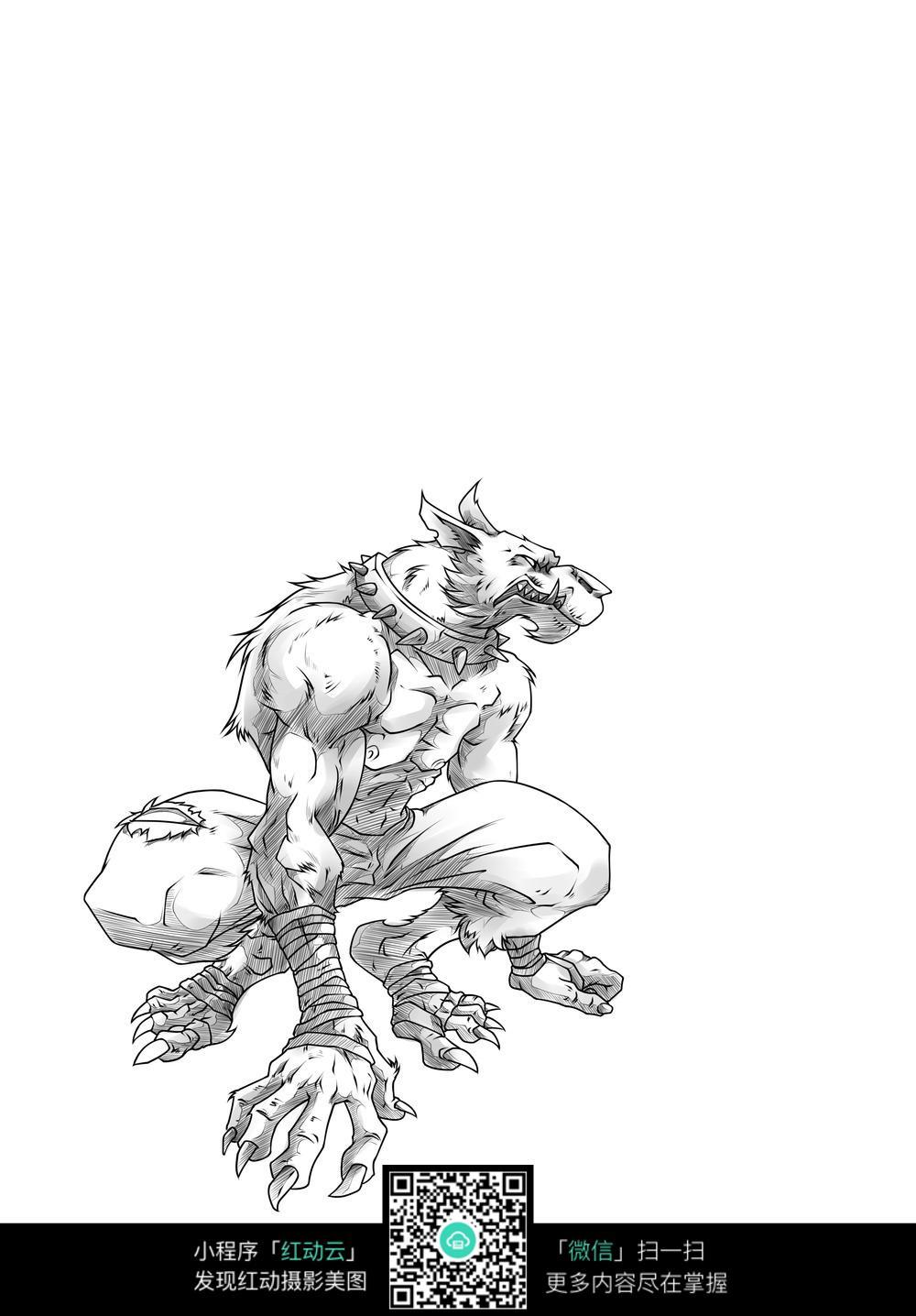 狼人卡通手绘线稿