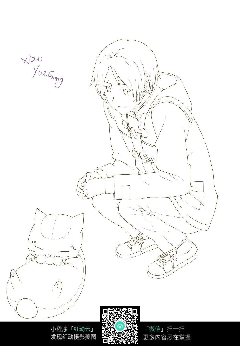 男孩和猫卡通手绘线稿图片