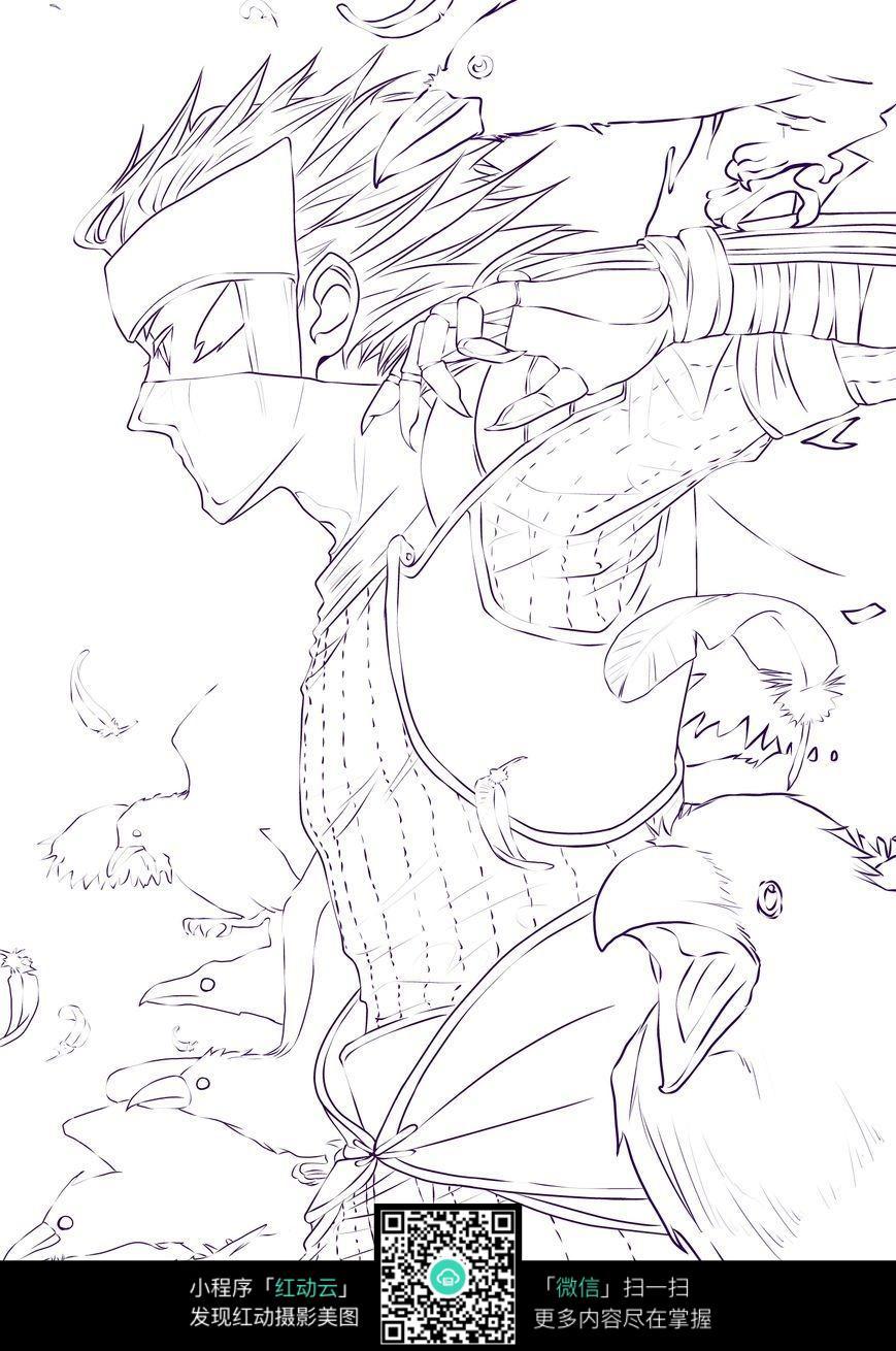 男孩和鹰卡通手绘线稿