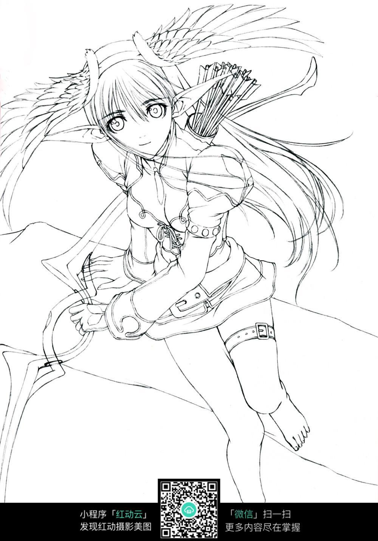 女孩和弓箭卡通手绘线稿