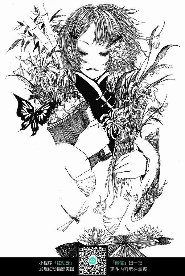 女孩和蝴蝶卡通手绘线稿