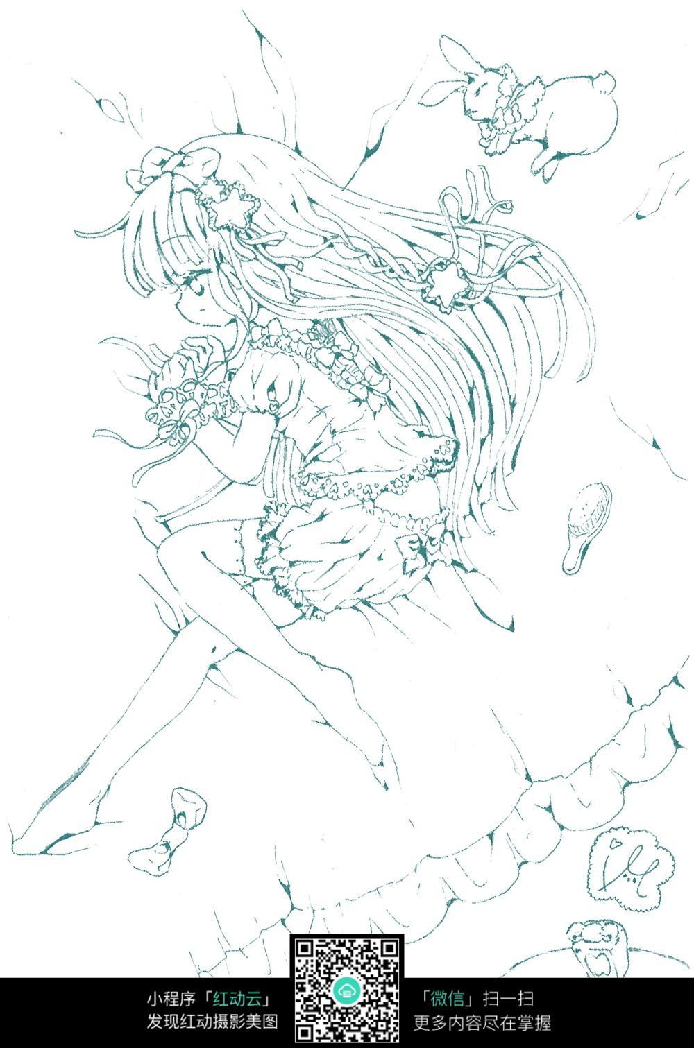女孩和兔子卡通手绘线稿_乐乐简笔画