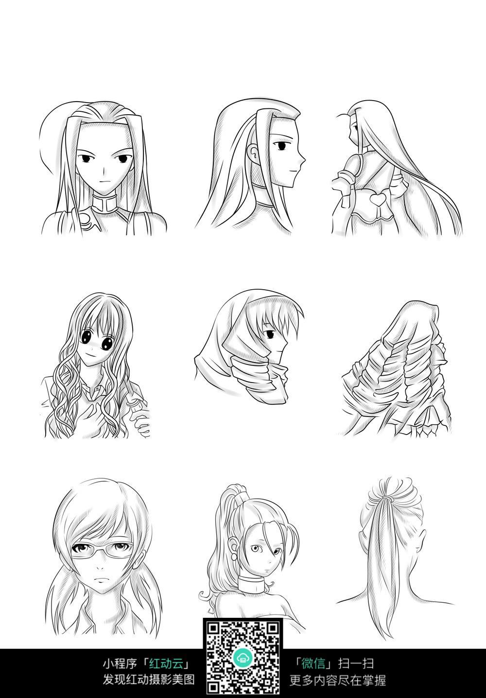 女孩头像卡通手绘线稿图片