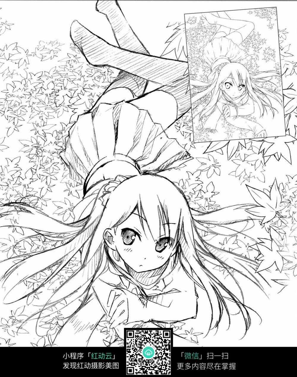 漫画女生全身素描(5)