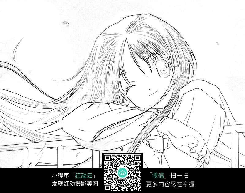 免费素材 图片素材 漫画插画 人物卡通 趴在栏杆上的可爱长发女孩