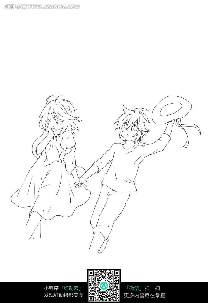 牵手的男孩女孩卡通手绘线稿图片