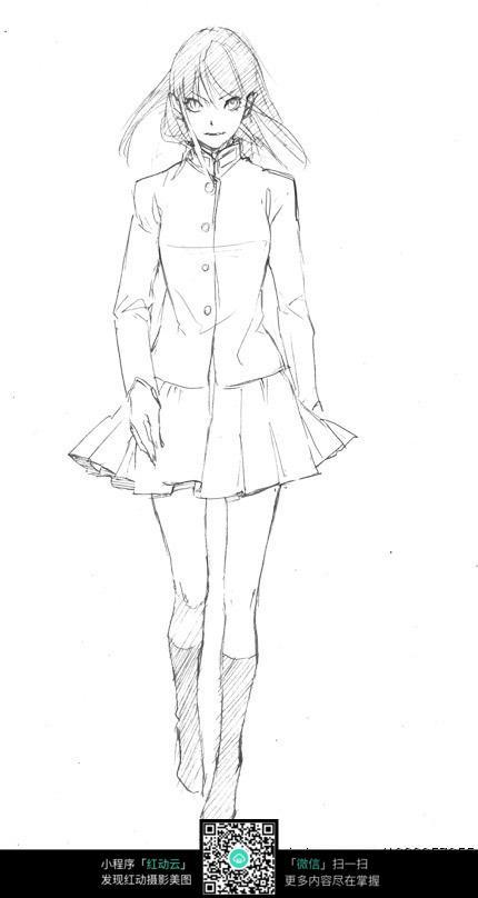 少女卡通手绘线稿