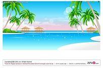 沙滩大海亭子椰树手绘背景画