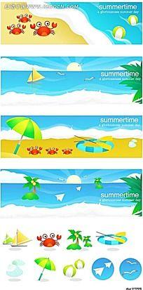 沙滩大海螃蟹海鸥手绘背景画