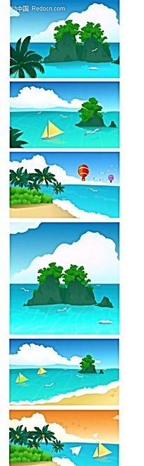 沙滩大海椰岛飞机帆船热气球手绘背景画