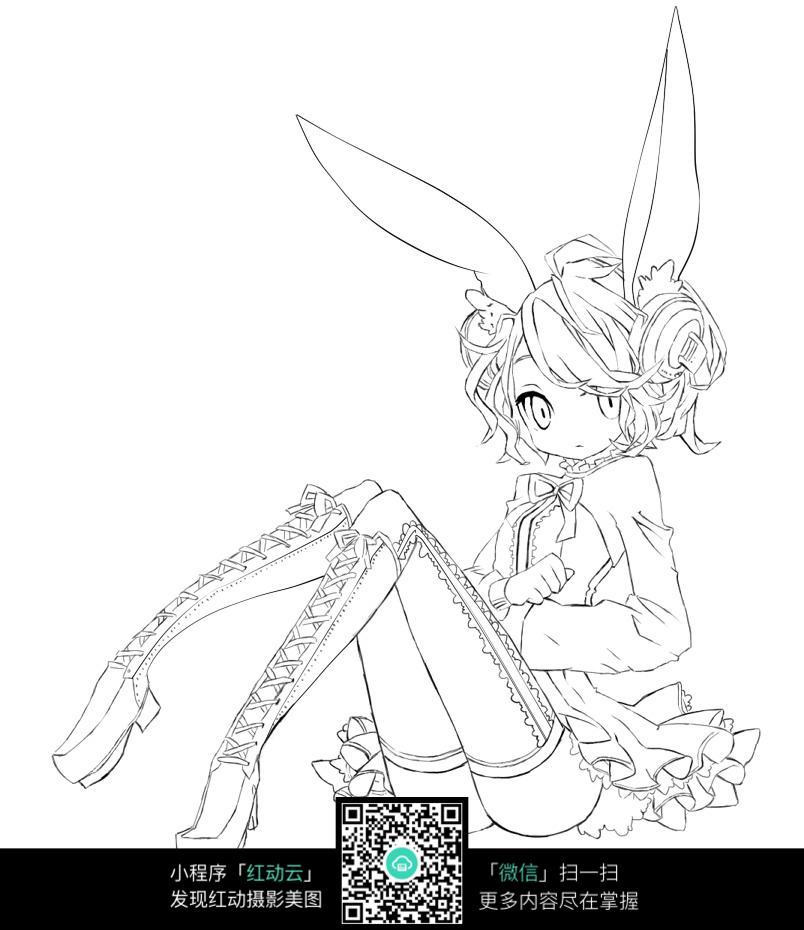 兔耳朵女孩卡通手绘线稿图片