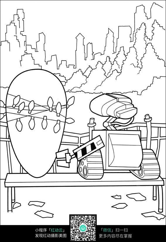 机器人总动员角色 机器人瓦力 机器人伊芙 卡通人物 黑白简笔画 手绘