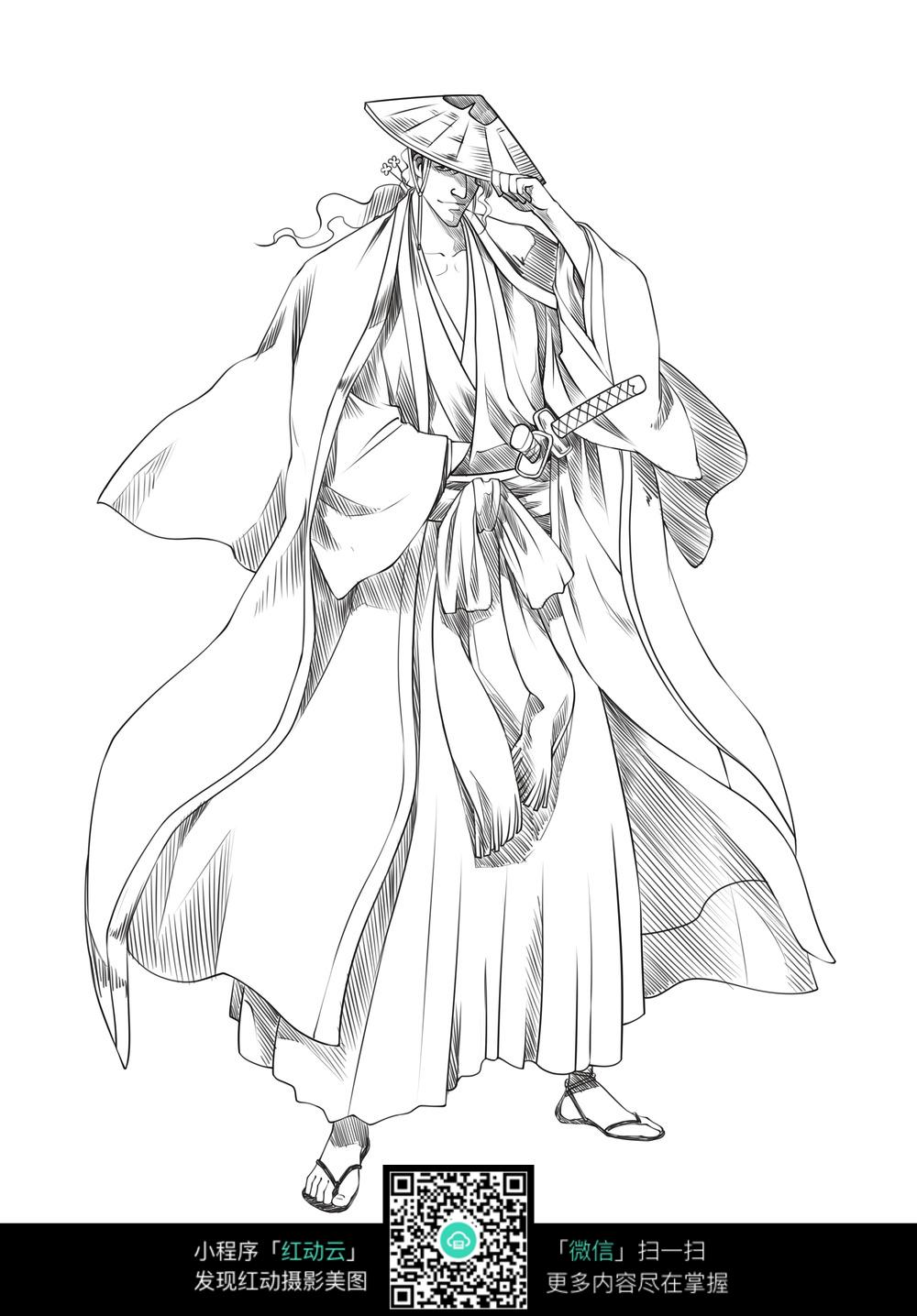 武士卡通手绘线稿